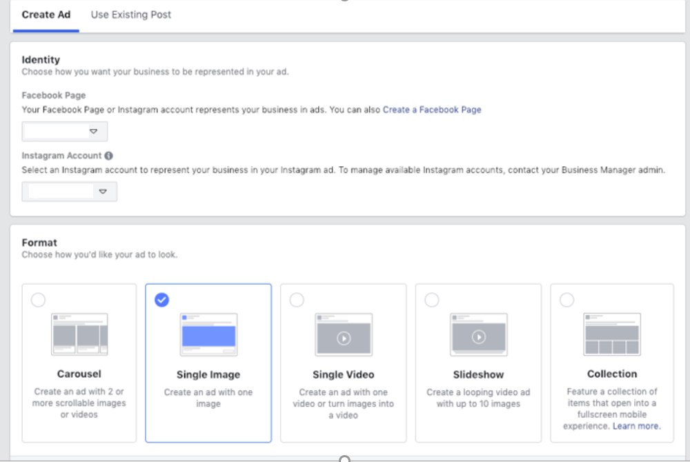 Facebook Ads Manager enables you to choose creative form of the ads