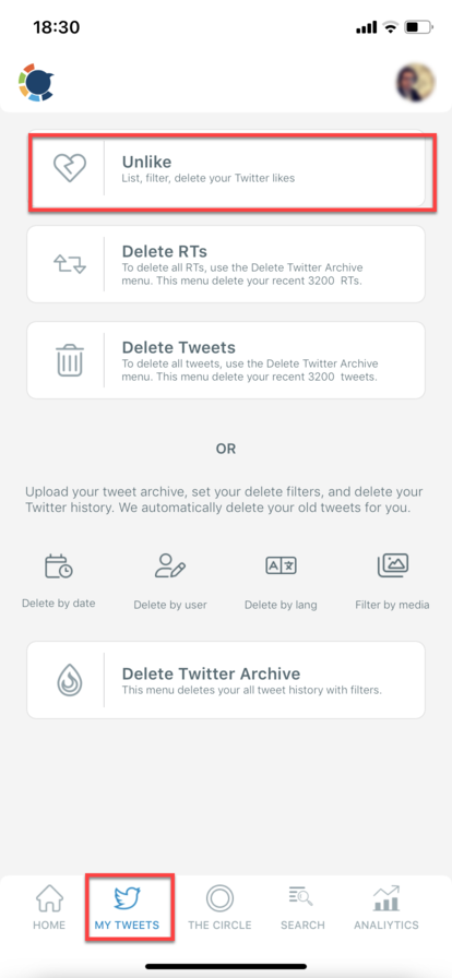 After that you will be directed to Unlike dashboard where you can delete your Twitter likes