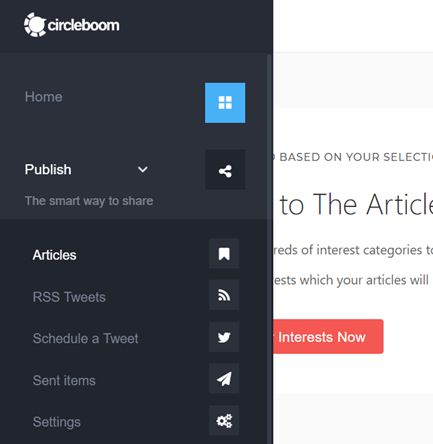 Circleboom Publish Tool offers you interest areas to choose from