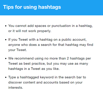 Twitter's suggestions for using hashtags