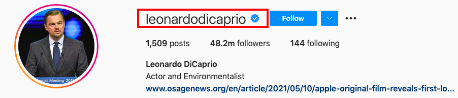 The blue checkmark is called Verification Badge which means that Instagram officially verifies the account with a certification of authenticity.