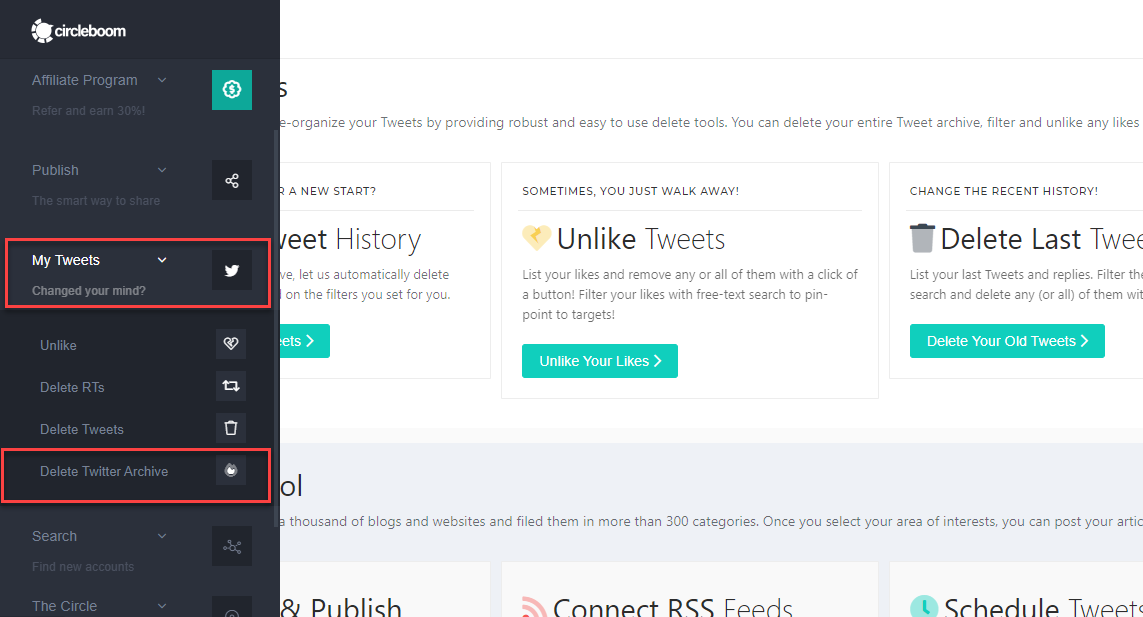 """Click """"My Tweets,"""" and a sub-menu will appear, select """"Delete Twitter Archive."""""""