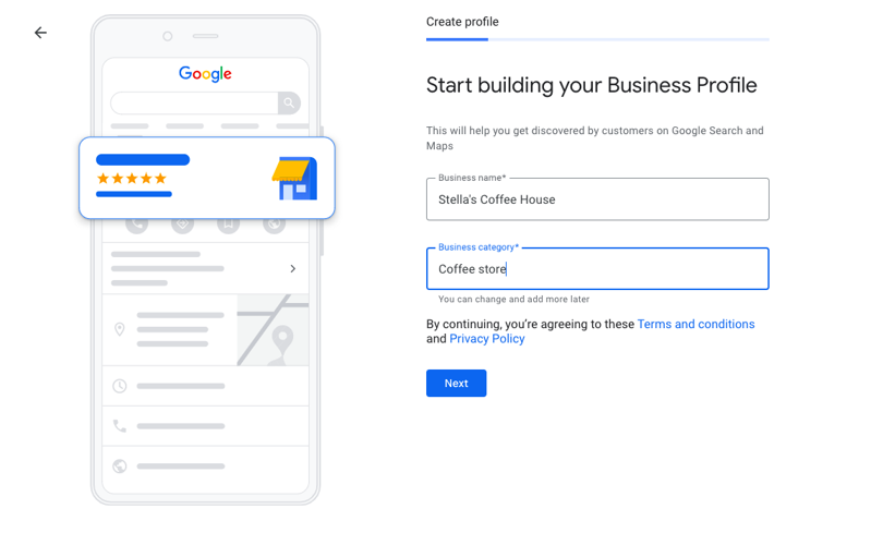 Fill out your Business Information at each step and click next button