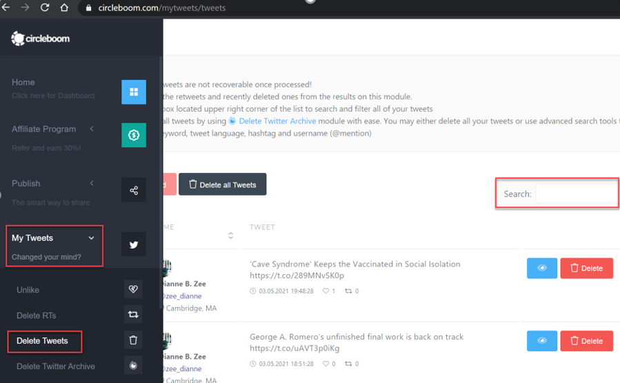 You easily auto delete tweets by keyword or hashtags in Circleboom