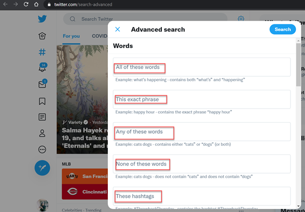 Here you can look for exact word, any words of a phrase, specific hashtag or exclude certain words