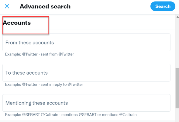 Filtering based on accounts is possible