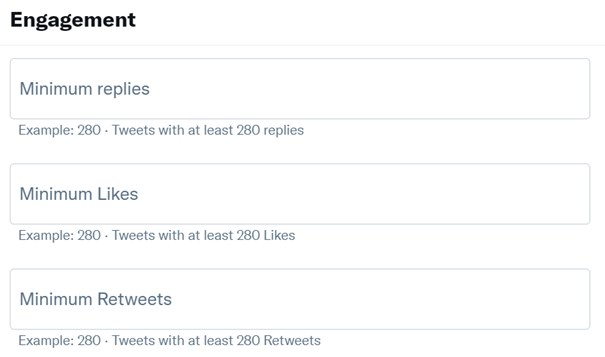 Searching based on engagement help you find most popular old tweets