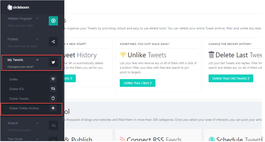 While you have your Twitter Archive at hand, delete old tweets via Circleboom