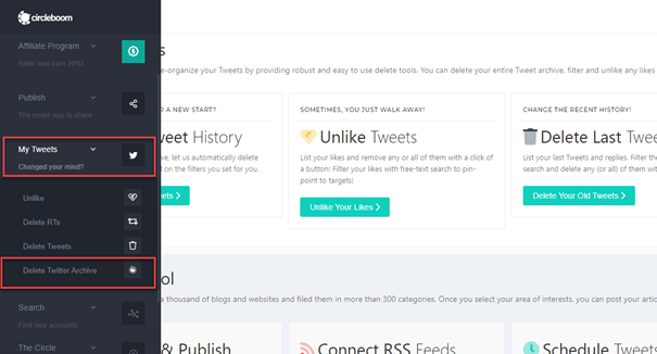 As you can see the menu, you can delete tweets, RTs and unlike tweets too.