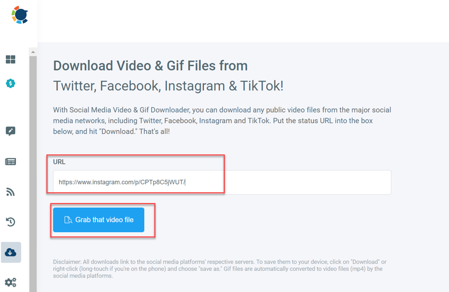 Click on grab that video, and the file will be downloaded to your device.