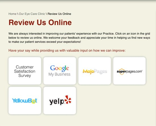 To make it simpler for your customers, you should integrate clickable links as you request for Google My Business reviews. | Source: Harrison Eye CareTo make it simpler for your customers, you should integrate clickable links as you request for Google My Business reviews. | Source: Harrison Eye Care