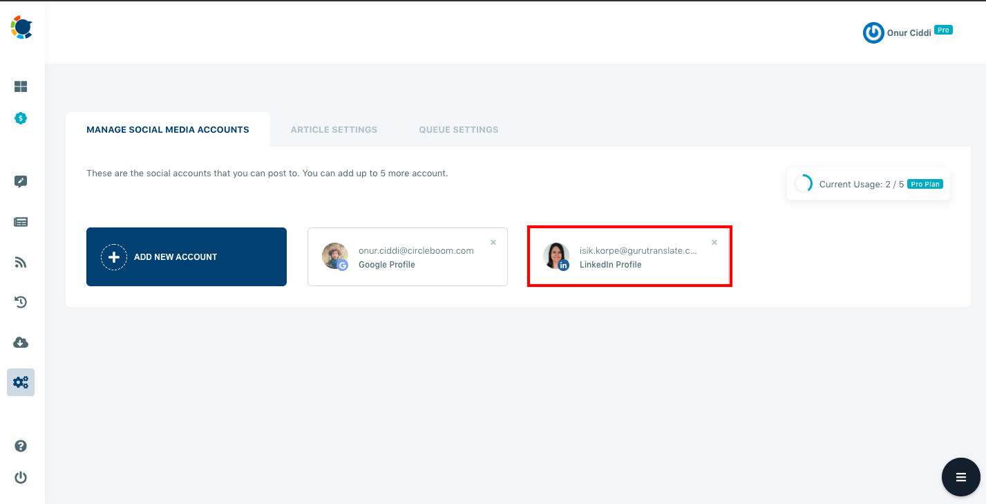 To manage multiple LinkedIn accounts, you should add all your accounts to the Circleboom Publish dashboard.
