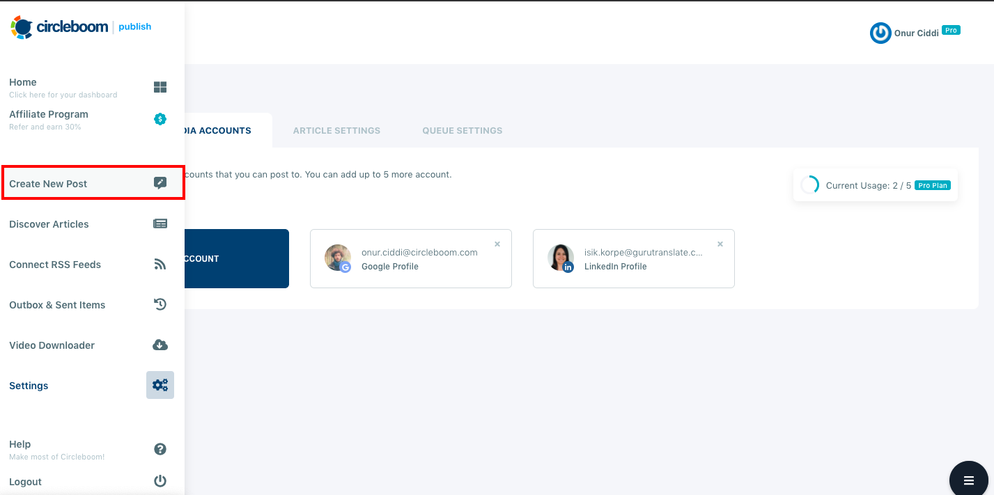 On the Create New Post dashboard, you can schedule posts on LinkedIn Company Page that are linked to Circleboom.