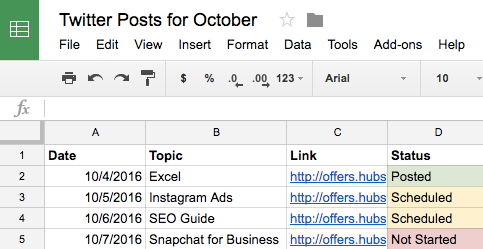 If you have a crowded workflow, a system for status updates can be crucial for you in your social media calendar