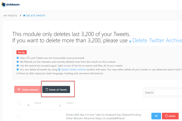 You can delete all of your last 3,200 tweets with one button