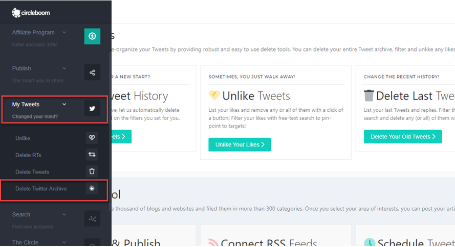 Go to the dashboard of Delete Twitter Archive sub-menu