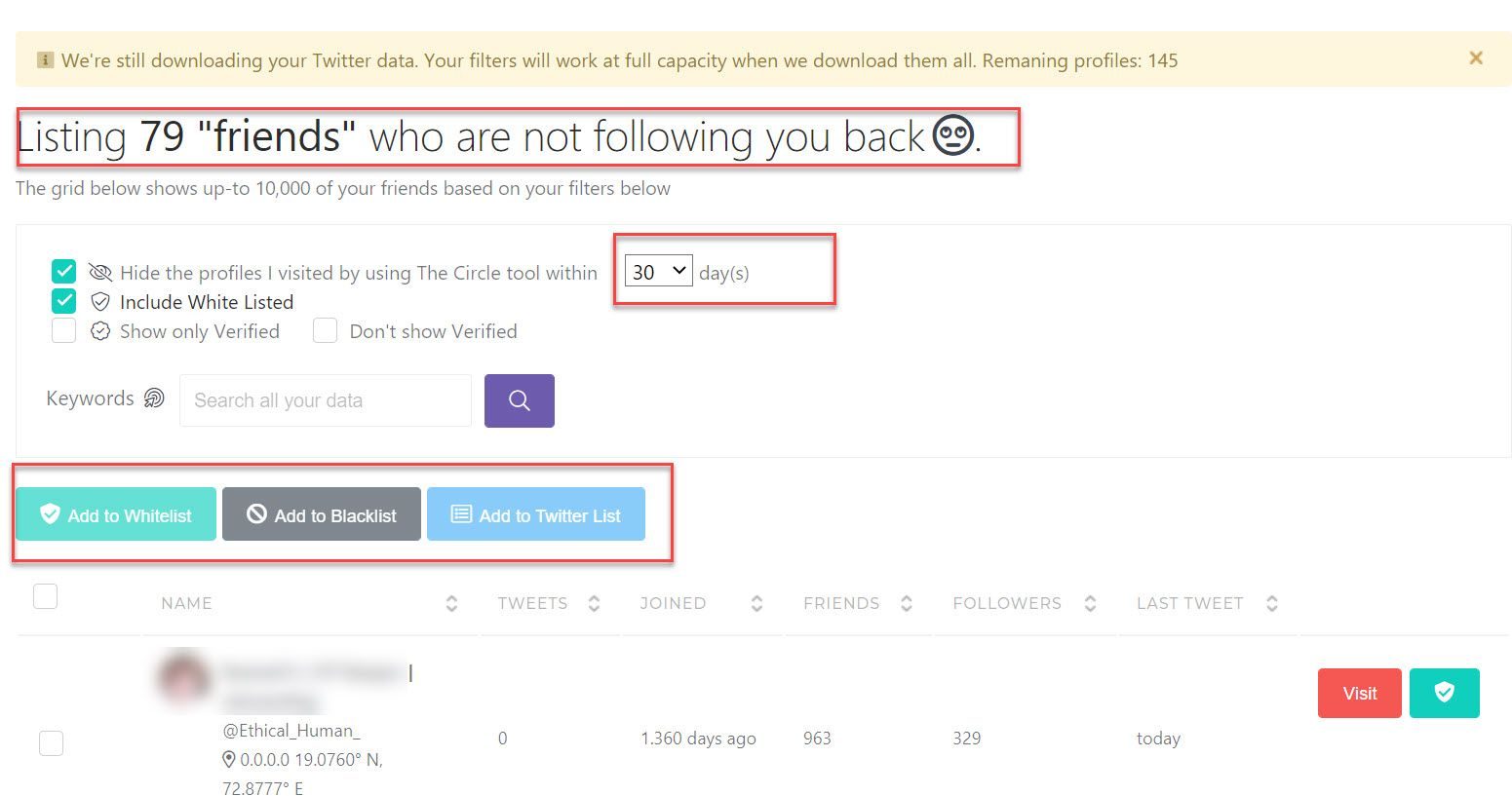 Find out those who are not following you back, filter them by keywords.