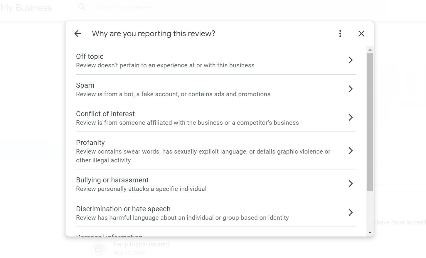 Choose the most accurate reason for why you need to delete a google review