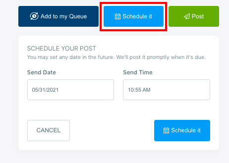 Select your scheduling time and day.