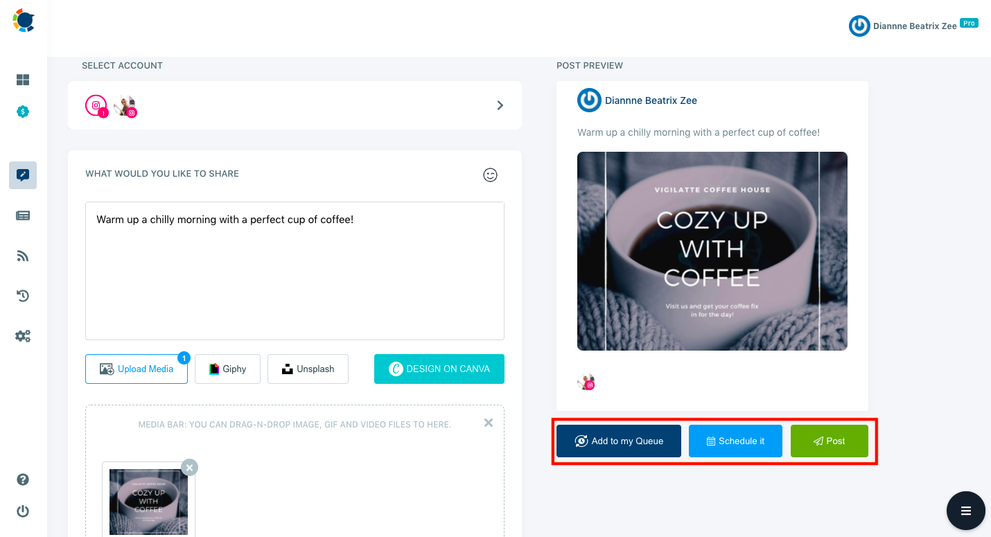 On Circleboom Publish, you can check your post's preview while you are creating it!