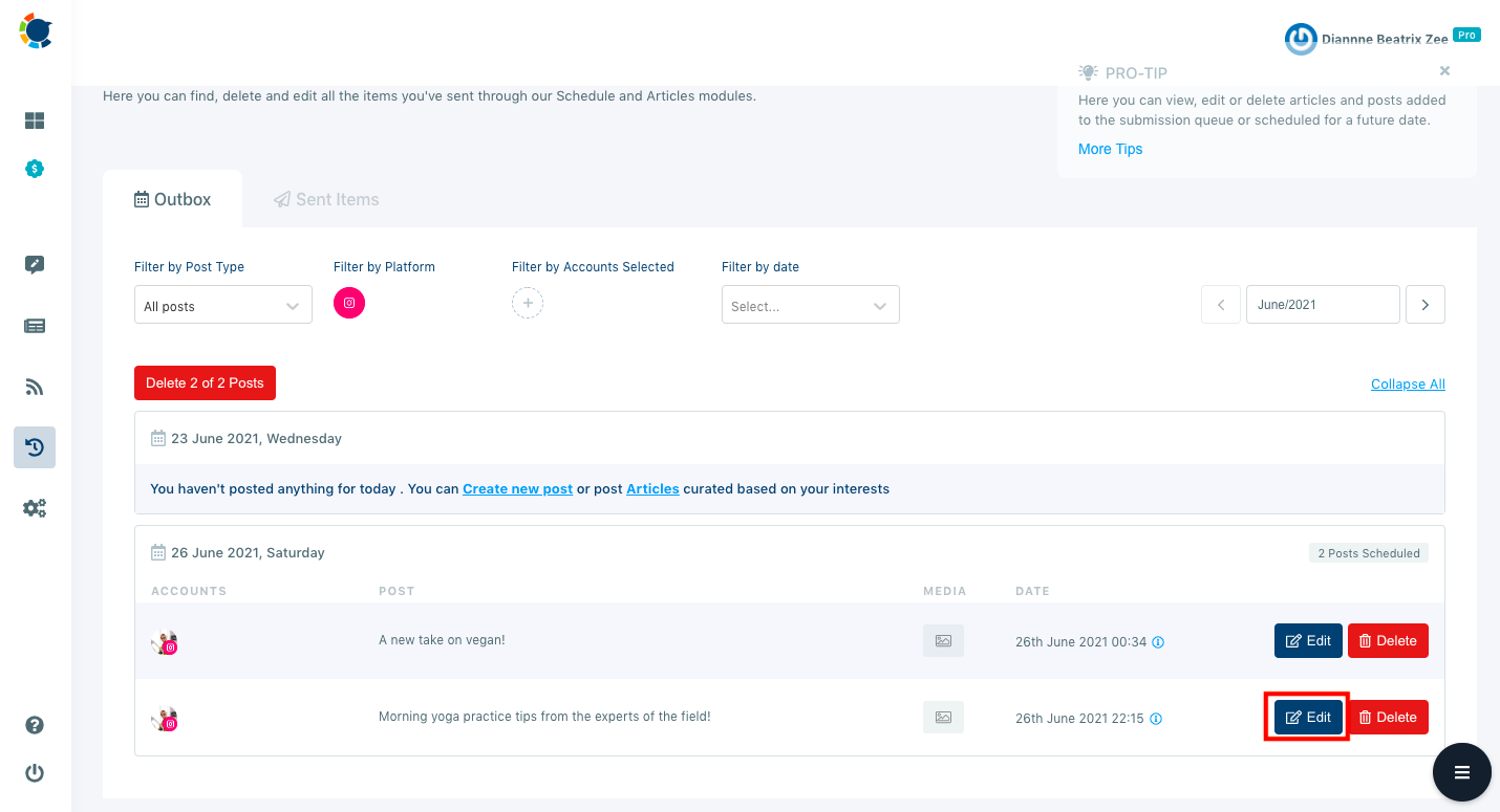 You can monitor your upcoming scheduled Instagram posts and edit them on a single dashboard.