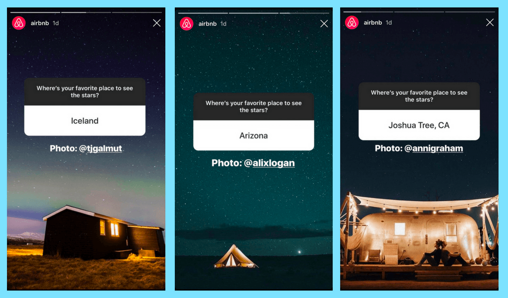 You can increase your brand awareness with interactive Instagram questions   Image Source: @airbnb