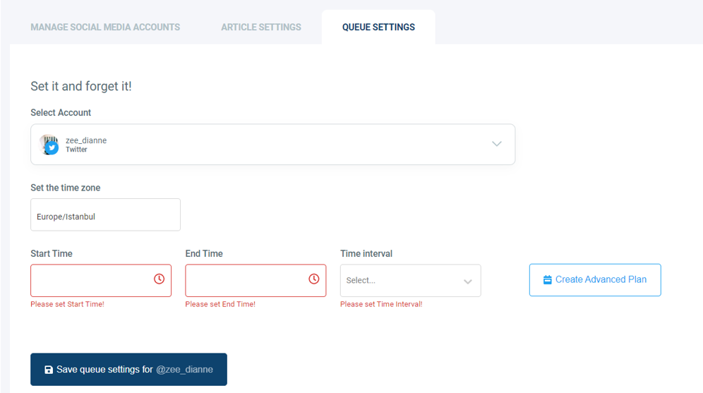 With Advanced Plan, you can selectively choose days to queue.