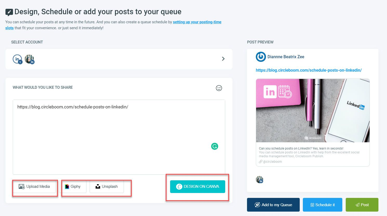 Design content with Canva or write your post caption and schedule!