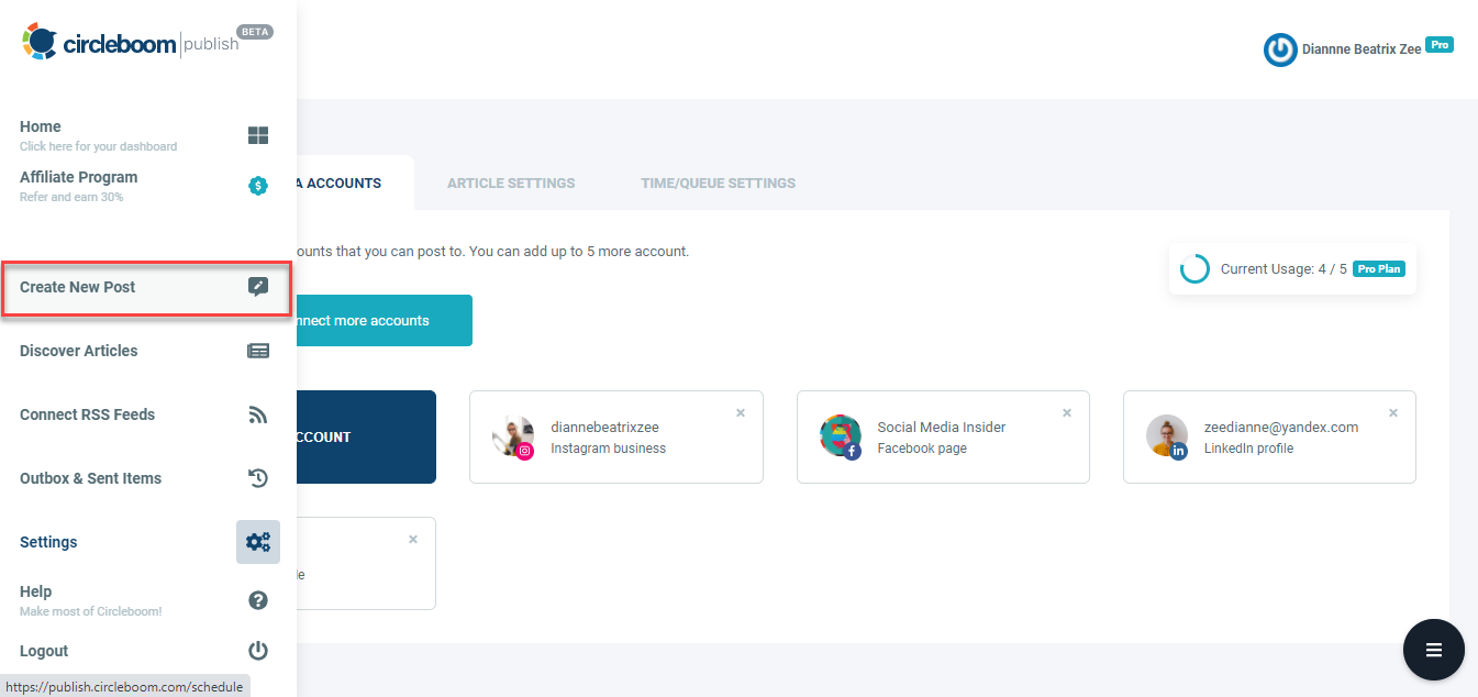 Create and design new posts on Circleboom Publish