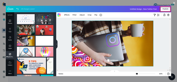 Get the best tweet ideas with Circleboom Publish's built-in Canva design tool