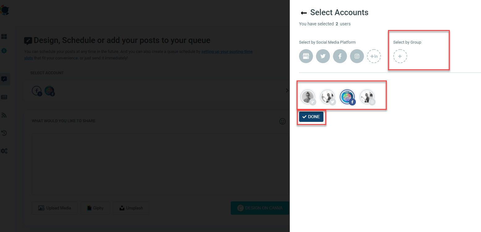 Select the Facebook icon to auto post to Facebook on that profile.