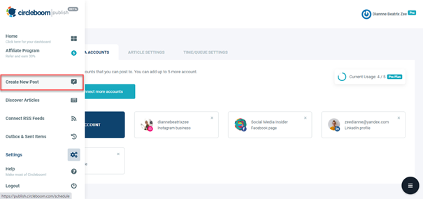 After syncing your Twitter account, go straight to Create a New Post tab.
