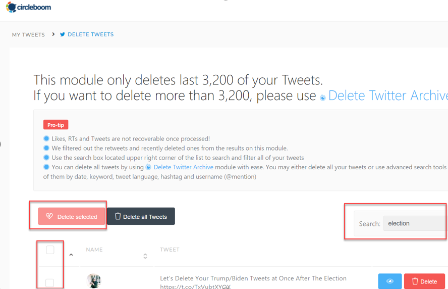 With Circleboom, you can easily filter your tweets, retweets and replies by searching for a specific hashtag.