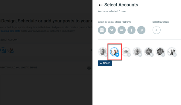 Select the Twitter account from all visible accounts added.