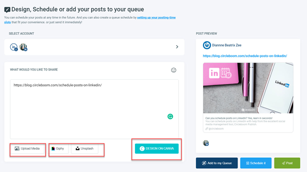 Create your posts, design on Canva, and schedule them!
