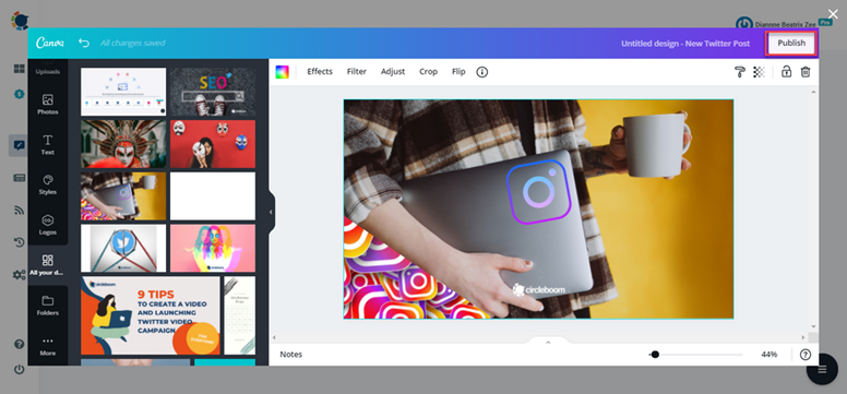Canva has different categories for each social media platform with proper image sizes.